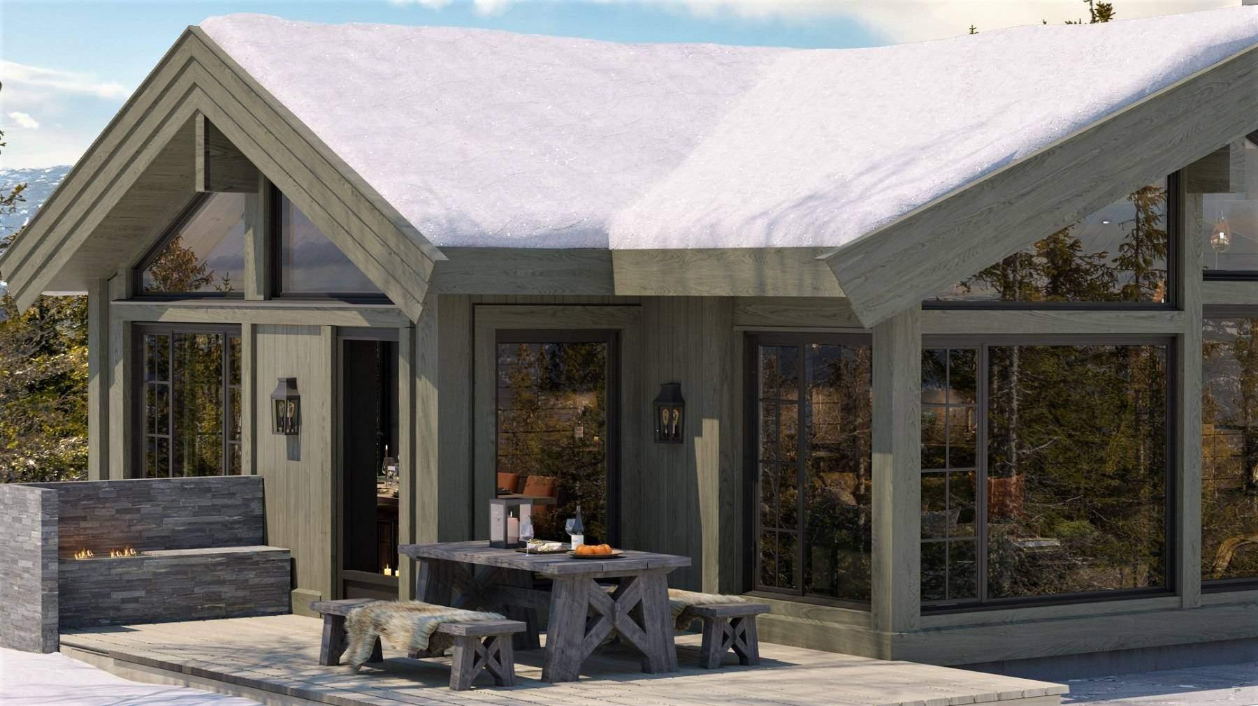 508 Spiseplass på terrasse utenfor spisestua. Hyttemodell Geilo 155