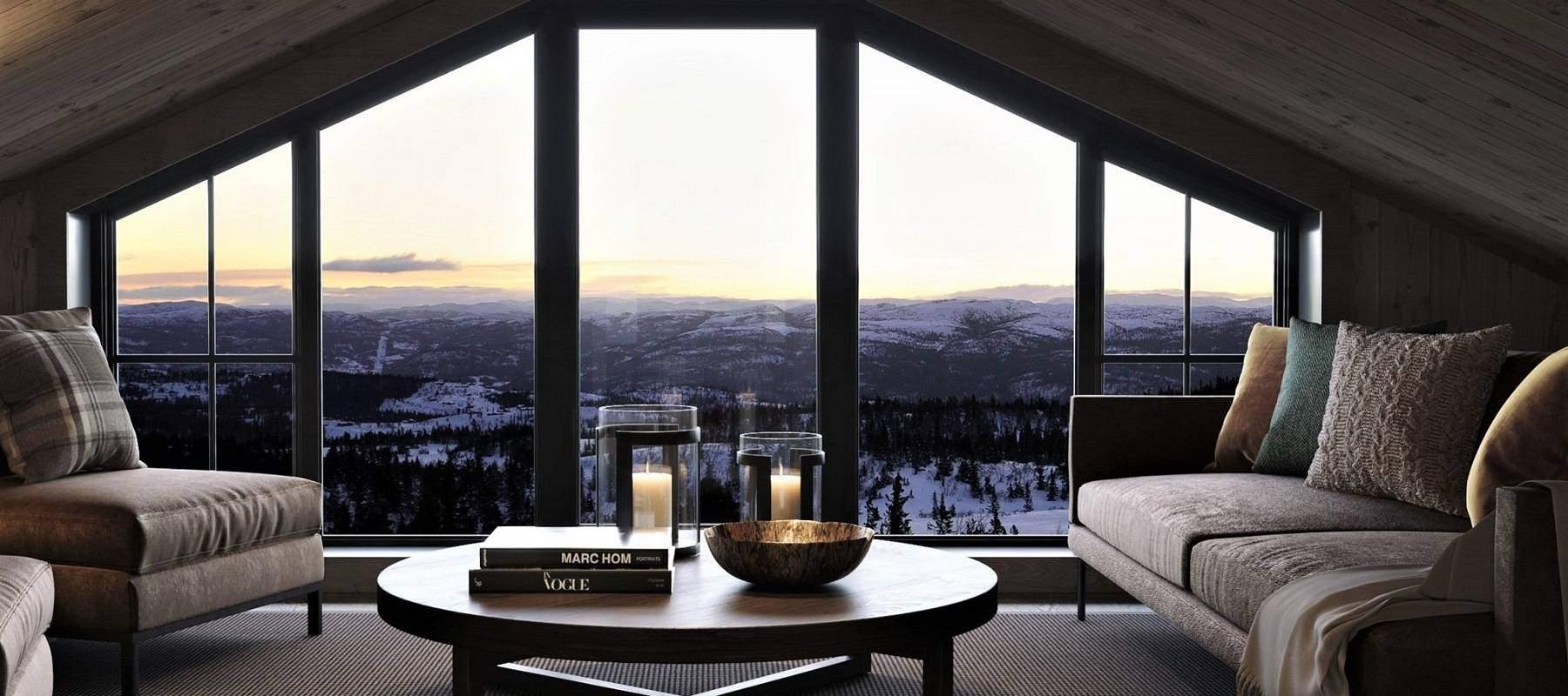 72 Geilo 155. Stua på hemsen med panoramautsyn fra den vide vindsflaten på ytterveggen.