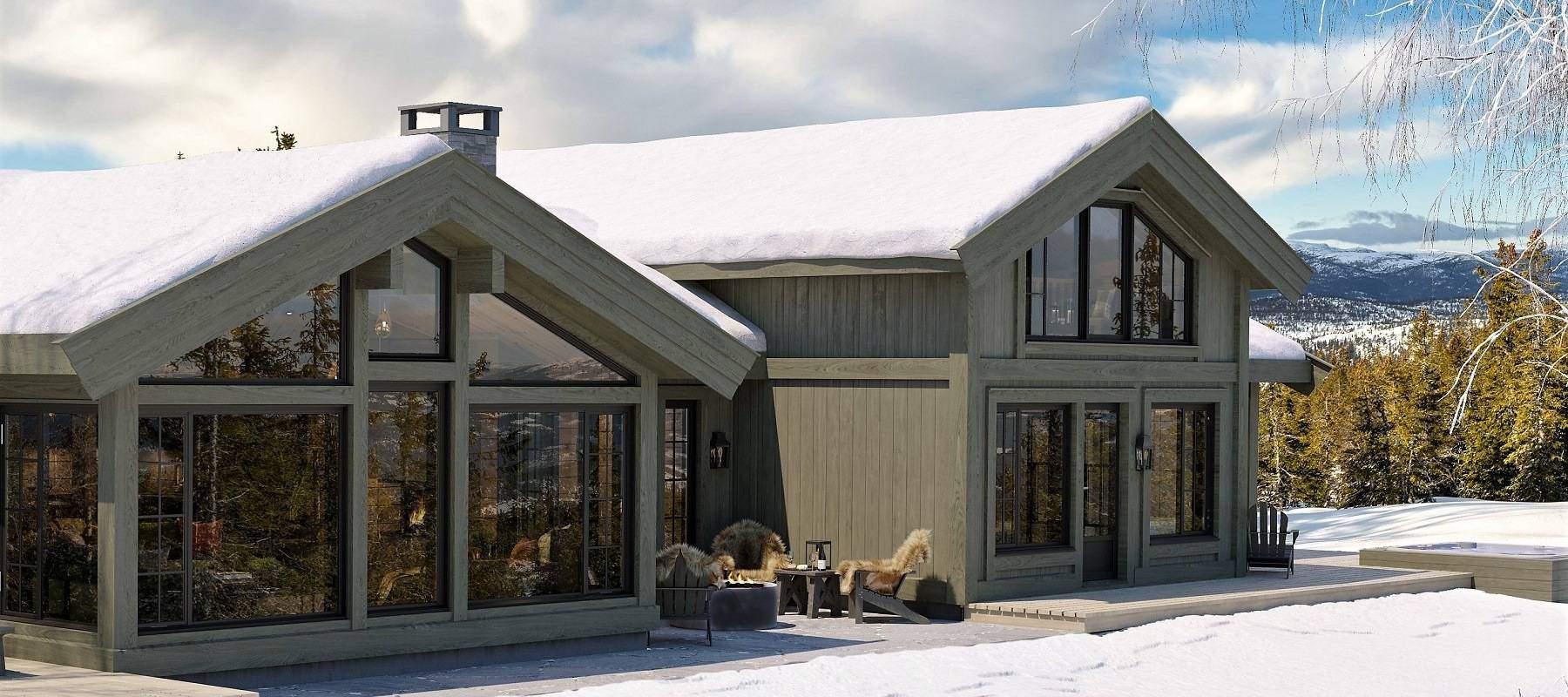 80 Geilo 155. Rustikk stavlaftsdekor, omramminger og timberfram design.
